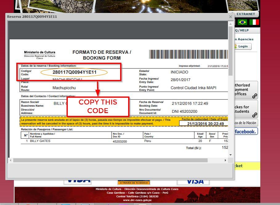Machu Picchu Ticket -8