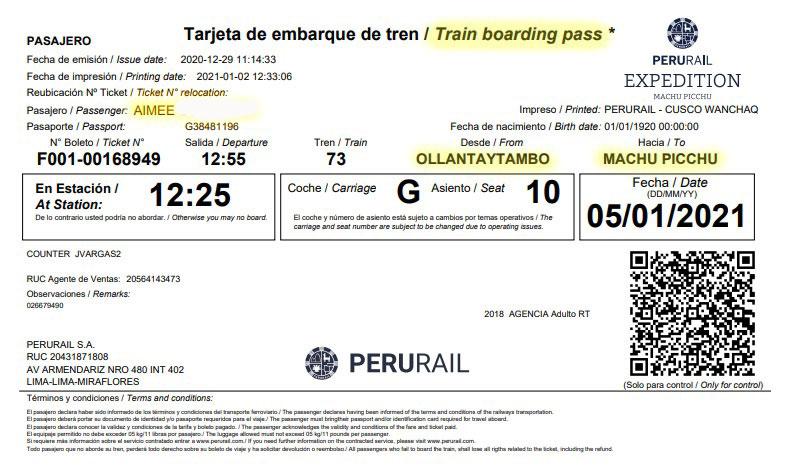 Machu Picchu Train Ticket